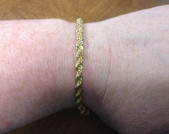 Vintage Goldtone Twisted Chain Design Bracelet/Ankle Bracelet, 9'' Long, In Original Case