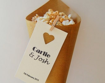 Name tag wedding favour popcorn cones, pack of 20 personalised for your wedding.