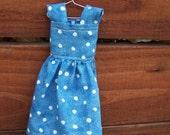 Blue with white Polka Dot Doll Dress