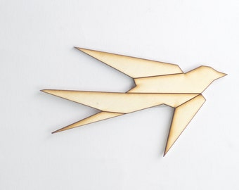 wooden wall art- graphic swallow