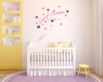 Removable Sweet Dreams with Flowers and Butterflies Wall Decal, Vinyl, Wall Sticker
