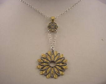 Sterling Silver, Gold Plated Flower Pendant