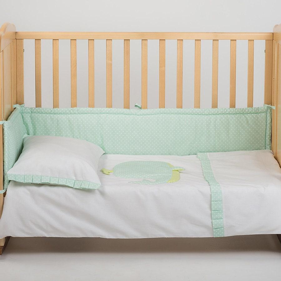 mint green crib bumper cot bumper baby bedding by cotandcot