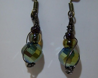 Antique brass Crystal earrings