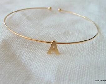 initial bracelet bangle gold - Bridesmaids -Bridal Jewelry