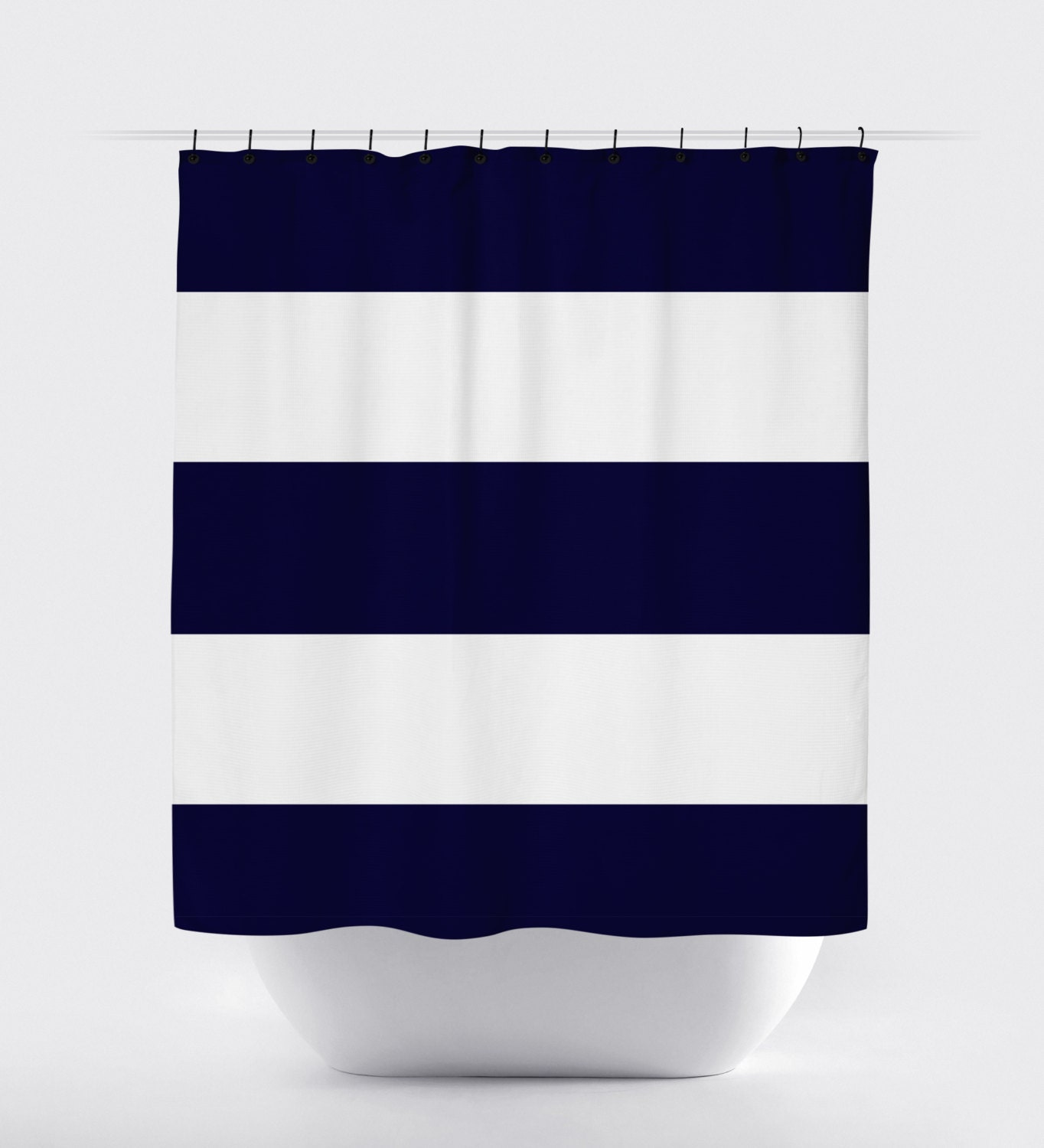 Navy Blue And White Stripes Shower Curtain Fabric Shower