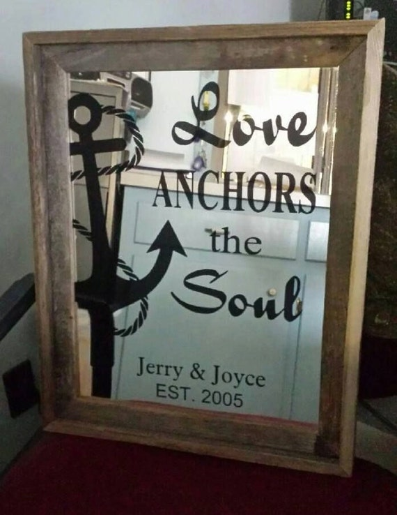 Personalized Wood Wall Decor : A personalized nautical wall decor anchor mirror with