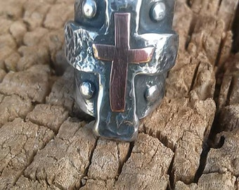 Sterling silver and copper hammered double cross ring