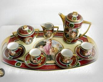 Pirkenhammer tea set with under tray - hand painted victorian