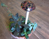 Mushroom, Plant Stake, Flower Fungi, Shroom, OOAK, Ceramic Hand Painted, Mother's Day, Earth Day
