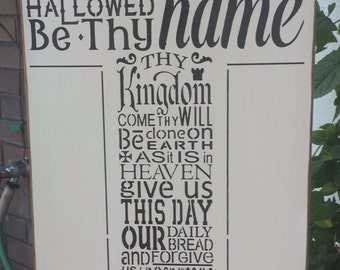 The Lords Prayer, wood sign