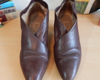 80s Enzo  Angiolini Brown Leather Heels