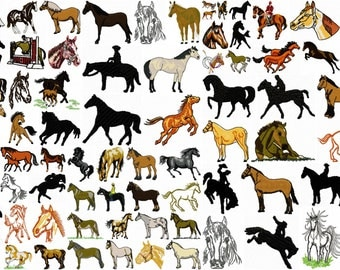 HORSE designs for embroidery machine, instant download