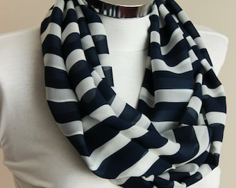 Spring Fashion infinity scarf  navy and ivory stripes: Stripes Scarf scarf with navy and ivory colors shawl wrap spring summer gift for her