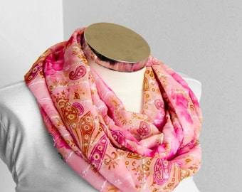 Spring Summer Fashion pink geometric design: Pink Scarf with light brown colors shawl wrap spring summer fashion gift for her