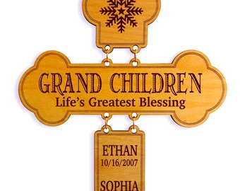 Personalized Grand Parents Gift,Grand Kids - Life's Greatest Blessing,Custom Grand Kids Names Wall Cross,My Grandkids and their Birthdays