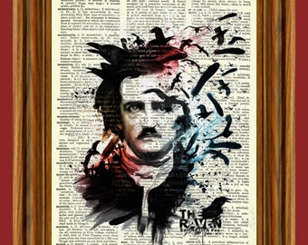 Edgar Allan Poe Portrait Upcycled Dictionary Art Print Quote Poster