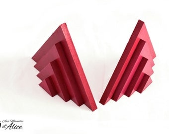 Decorative bookend : pyramid shaped Red Cherry colored