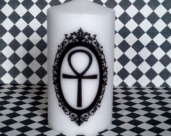 Framed Egyptian Ankh Pillar Candle Goth Pagan Decor Gift