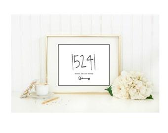 Personalized Zipcode Home Sweet Home Art Print