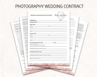 wedding contract wedding photography contract template wedding photography contract editable photography logo on
