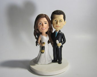 Wedding Cake Topper Custom Sculpted  Figurine personalized funny cake topper bride and groom make from C