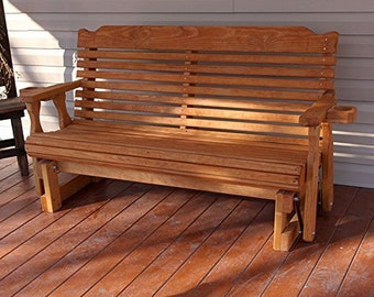 4 Foot Amish Heavy Duty 800 Lb Classic Pressure Treated Porch Glider With Cupholders