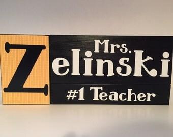 Personalized Wood Teacher Blocks: Teacher Appreciation, End of Year, Teacher of the Year
