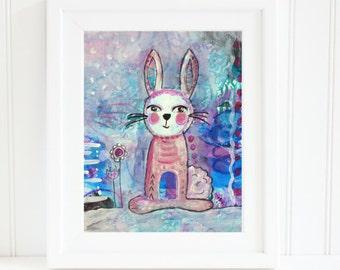 Bunny Nursery Art,  8x10 Nursery Art, Instant Download Art, Whimsical Bunny