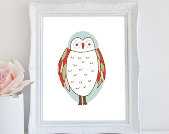 Owl Print, Nursery Art, Owl Nursery Print, Whimsical Owl Print, Instant Download, Printable Art
