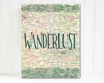 Wanderlust Print, Vintage Map Art, Wanderlust Printable Art, Travel Decor, Map Print