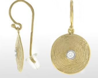 Diamond Earrings - 14k Yellow Gold Textured Diamond Earrings