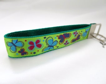 Cute Butterfly Key Fob Wristlet Keychain with Lime Green or Purple Background