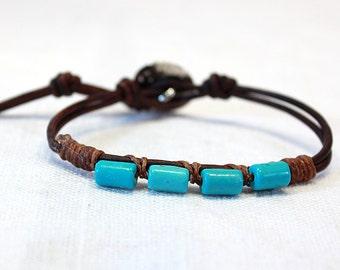 Turquoise Blue and Leather Bracelet Bohemian Stacking Bracelet Natural Brown Wrap Bracelet Button Closure Beach Bracelet