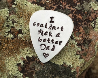 hand stamped guitar pick fathers day gift father daughter gift guitar pick dad father son gift daddy hand stamped dad guitar pick gift