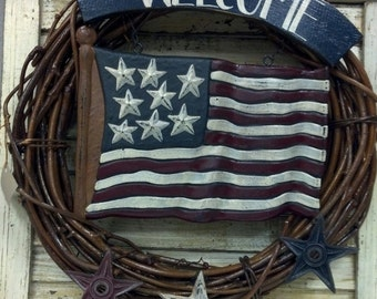Patriotic wreath with American Flag,