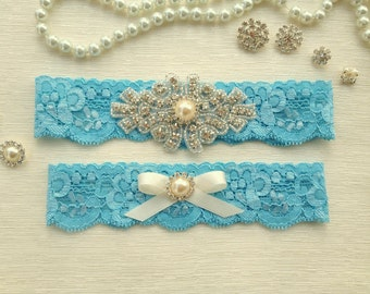 wedding garter set, blue lace bridal garter set, ivory bow, pearl/rhinestone