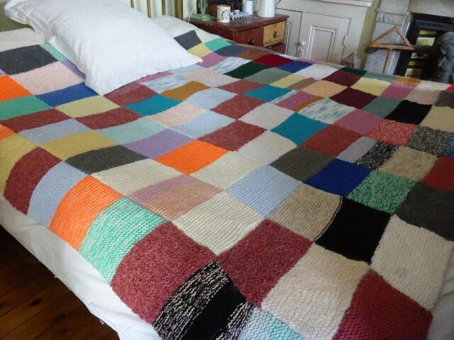 vintage retro fran ais main tricot couverture patchwork jeter. Black Bedroom Furniture Sets. Home Design Ideas