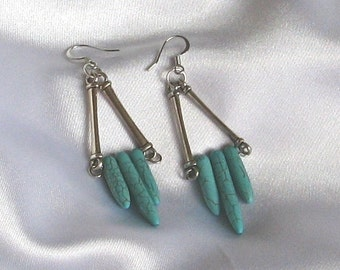 Turquoise & Silver Trapeze Earrings