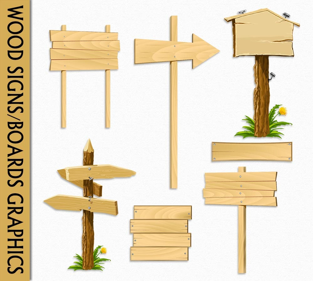 Wood signs clip art graphic wooden boards clipart scrapbook