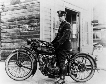 Photo of a Policeman on an Indian motorcycle