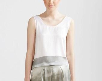 White Printed Silk Cami