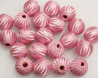Large Pink Beads, Crochet Beads, Large Beads, Textile Beads