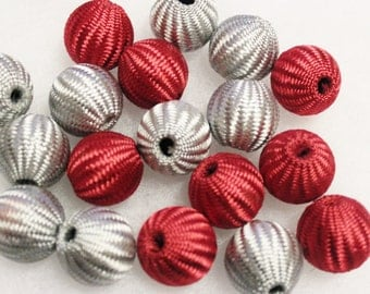 Large Red and Gray Beads Mix,Crochet Beads,Large Red Beads Beads, Textile Beads