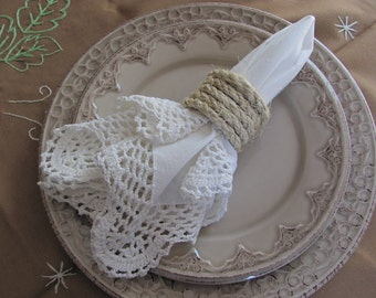 Set of 6 Rustic Napkin Rings. Wedding Rustic Decor. Rustic Napkin Holders. Rope Napkin Rings.
