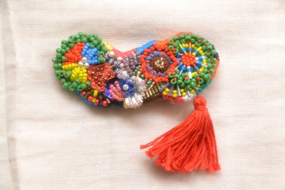 Bead embroidery brooches thread tassel colorful multi by