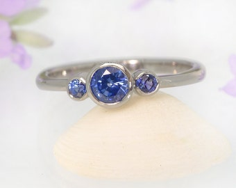 Blue Sapphire Trilogy Ring - Eco Friendly 18k Gold or Platinum - Handmade to Size