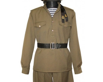 Soviet Red Army WWII Russian Marines khaki vintage military uniform M43 Gymnasterka and Pants