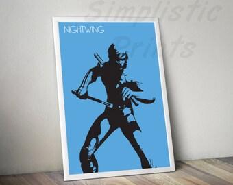 Nightwing arkham minimalist poster, 8x10, 11x14, 11x17, 13x19