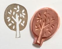 Hand-Carved Rubber Tree Stamp--Tree Stamp--Scrapbooking, DIY